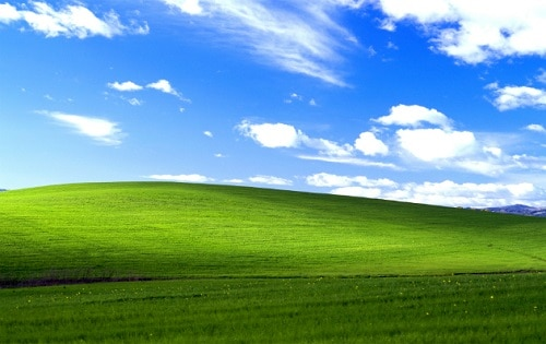 Tela de fundo do Windows XP parece terra dos Teletubbies